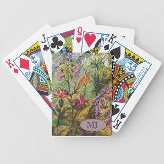 Detalle del jardín de flores barajas de cartas