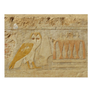 Detalle del jeroglífico del búho, templo de Hatshe Tarjetas Postales
