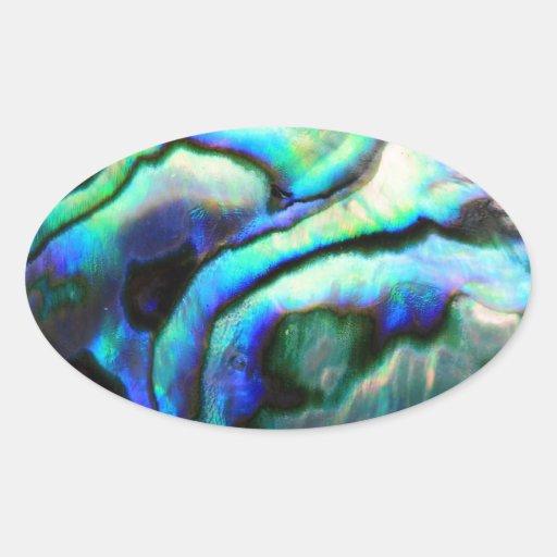 Detalle del olmo de Paua Pegatina Ovalada