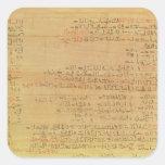 Detalle del papiro matemático de Rhind Pegatina Cuadrada