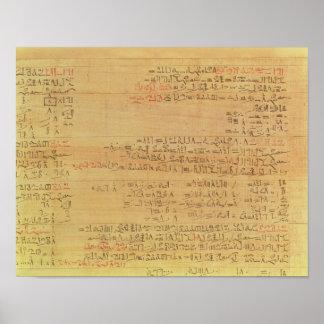 Detalle del papiro matemático de Rhind Póster