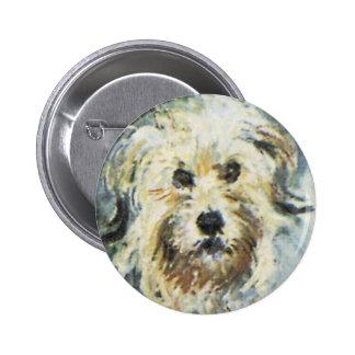 Detalle del perro de la pintura de Claude Monet Pin Redondo De 2 Pulgadas