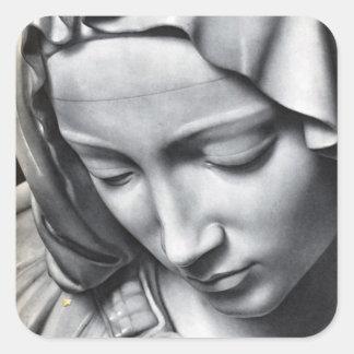 Detalle del Pieta de Miguel Ángel de la cara del Calcomania Cuadrada Personalizada
