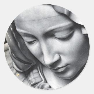 Detalle del Pieta de Miguel Ángel de la cara del Etiquetas Redondas