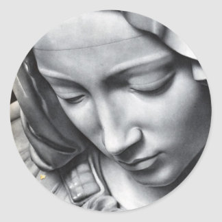 Detalle del Pieta de Miguel Ángel de la cara del Pegatina Redonda
