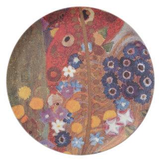 Detalle del rojo azul de no. 2 Brown de Nouveau Kl Plato Para Fiesta