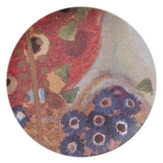 Detalle del rojo azul de no. 4 Brown de Nouveau Kl Plato De Cena