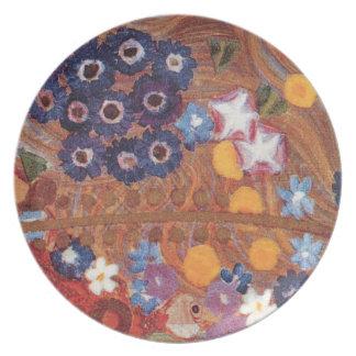 Detalle del rojo azul de Nouveau Klimt Brown del a Plato De Comida