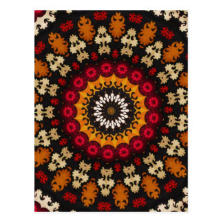 Detalle floral nómada antiguo de Kilim Postal