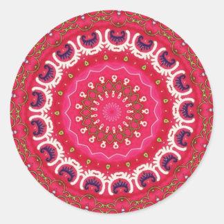 Detalle floral tribal nómada antiguo de la materia etiquetas redondas