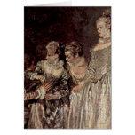 Detalle veneciano de los días de fiesta de Antoine Tarjetas