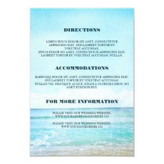 """Detalles azules del boda de playa - información invitación 3.5"""" x 5"""""""