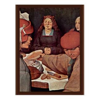 Detalles campesinos del boda por Bruegel D Ä Pie Tarjeta Postal