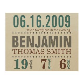 Detalles de la fecha del nacimiento del bebé - are impresión en madera