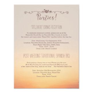 """Detalles de los banquetes de boda de la playa invitación 4.25"""" x 5.5"""""""