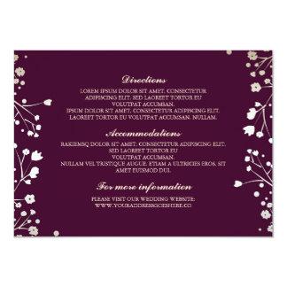 """Detalles del boda del ciruelo de la respiración invitación 4.5"""" x 6.25"""""""