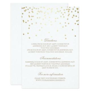 """Detalles del boda del confeti del oro - invitación 3.5"""" x 5"""""""