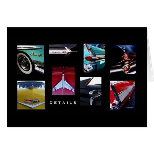 Detalles del coche de carreras tarjeta de felicitación