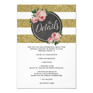 """Detalles elegantes rosados florales del boda de la invitación 3.5"""" x 5"""""""