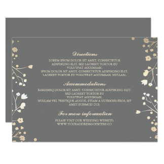 """Detalles grises del boda de la respiración del invitación 4.5"""" x 6.25"""""""