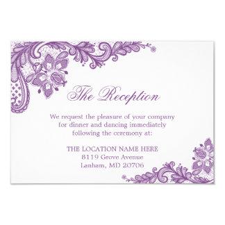 """Detalles púrpuras de la información del boda del invitación 3.5"""" x 5"""""""