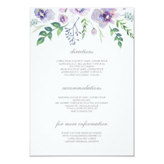 """Detalles púrpuras y azules del boda - información invitación 3.5"""" x 5"""""""