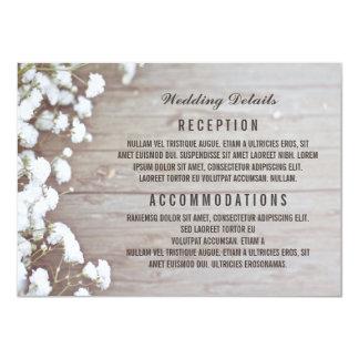 """Detalles rústicos/información del boda de la invitación 4.5"""" x 6.25"""""""