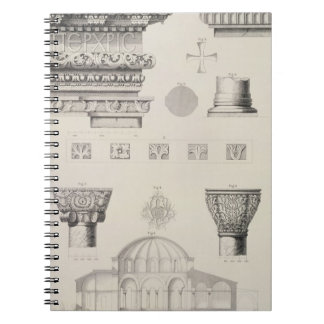 Detalles seccionados transversalmente y arquitectó libreta espiral
