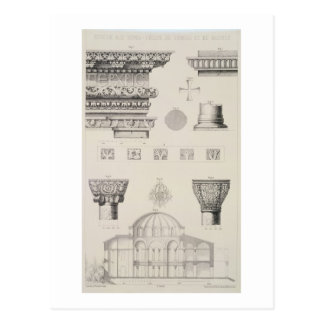 Detalles seccionados transversalmente y tarjetas postales