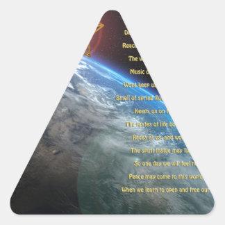Detecta el poema, tierra, budda, merkaba, arte del pegatina triangular