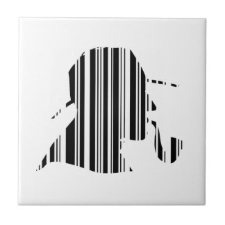 DETECTIVE BAR CODE Pipe Smoking Barcode Pattern Small Square Tile