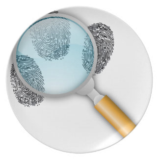 Detective Clues Find Finger Fingerprints Mystery Dinner Plate