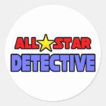Detective de All Star Pegatinas Redondas