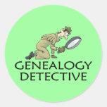 Detective de la genealogía etiquetas redondas