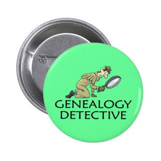 Detective de la genealogía pin redondo de 2 pulgadas