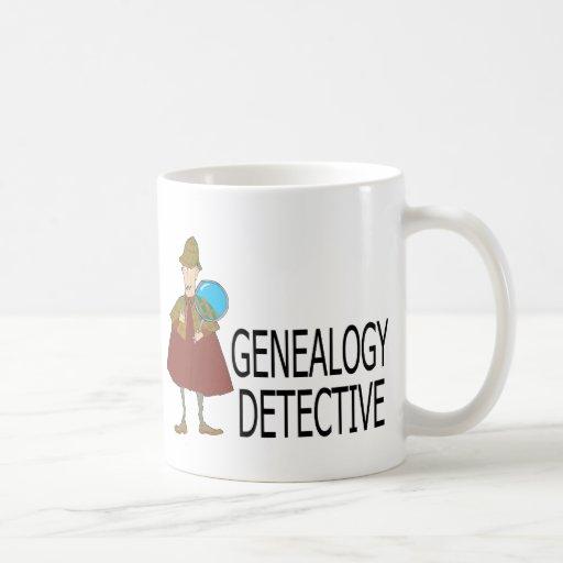 Detective de la genealogía tazas de café