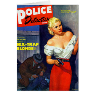 Detective de policía retro de las mujeres de la pu felicitación