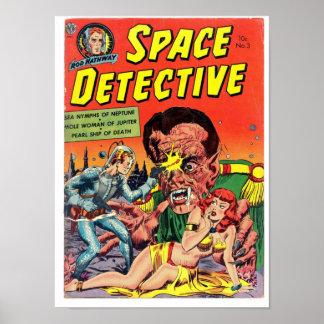 Detective del espacio del arte cómico de la época  póster