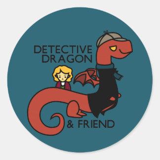 detective dragon and friend parody classic round sticker