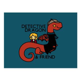 detective dragon and friend parody postcard
