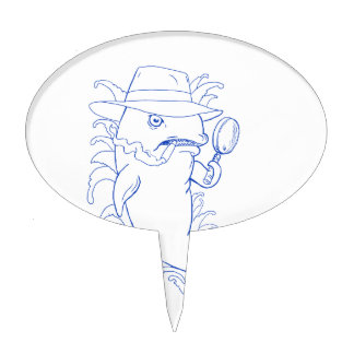 Detective Orca Killer Whale Drawing Cake Topper
