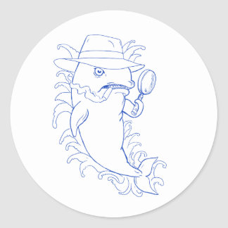Detective Orca Killer Whale Drawing Classic Round Sticker