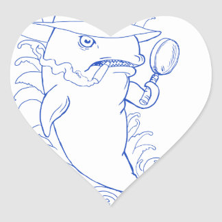 Detective Orca Killer Whale Drawing Heart Sticker
