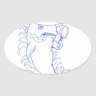 Detective Orca Killer Whale Drawing Oval Sticker
