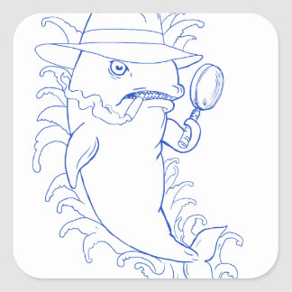 Detective Orca Killer Whale Drawing Square Sticker