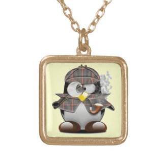 Detective Penguin Gold Plated Necklace
