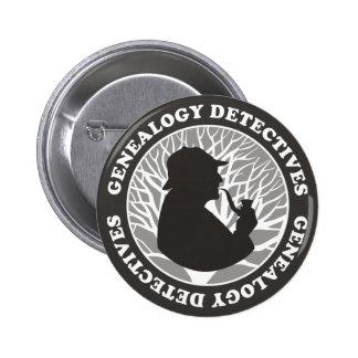 Detectives de la genealogía pin redondo de 2 pulgadas