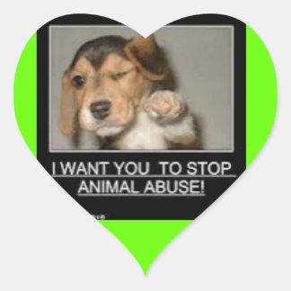 Detención animal del abuso pegatina en forma de corazón