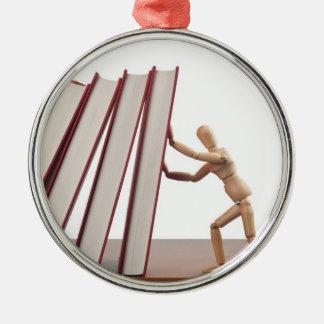 Detención de efecto de dominó adorno navideño redondo de metal