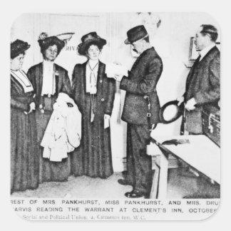 Detención de señora Pankhurst Pegatina Cuadrada